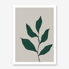 Abstract poster print with green leaves on grey background.