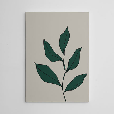 Abstract canvas print with green leaves on grey background