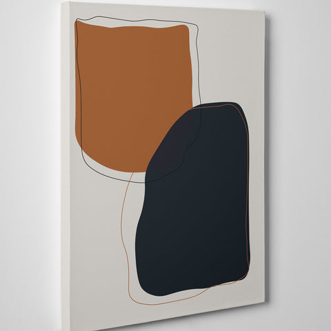 Abstract canvas print with earthy coloured shapes on grey background - side view