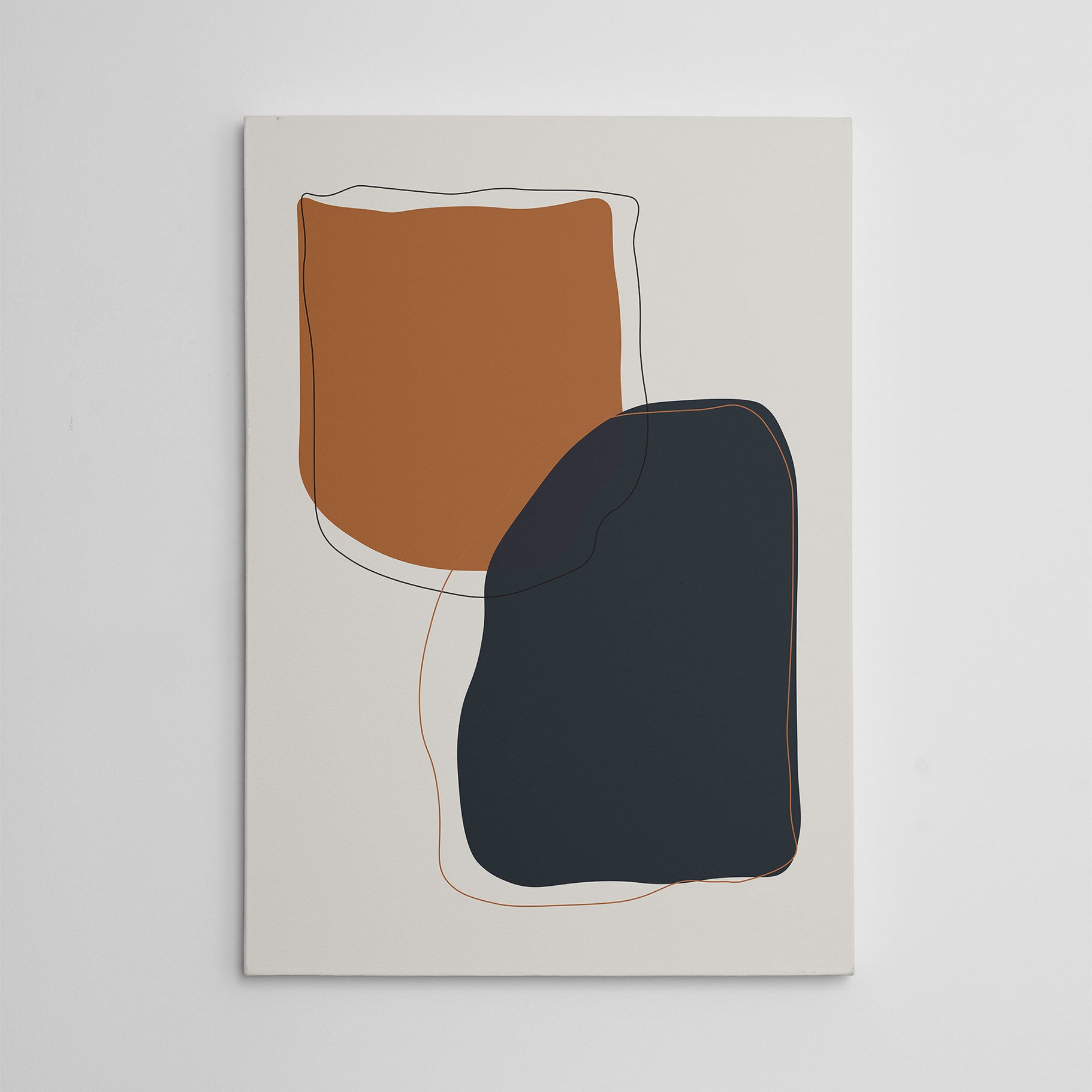 Abstract canvas print with earthy coloured shapes on grey background