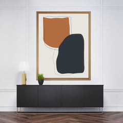 Abstract poster print with earthy coloured shapes on grey background - framed view