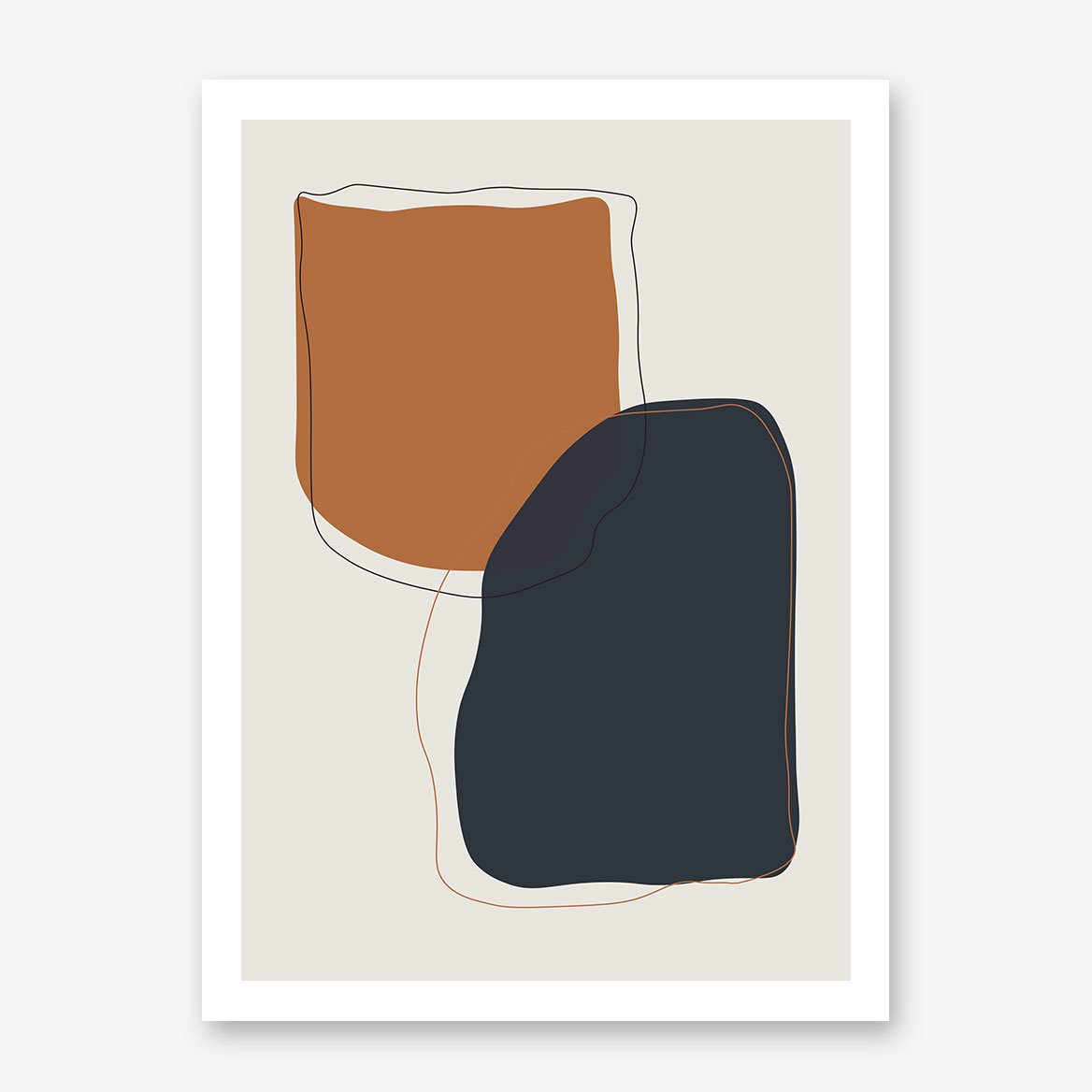 Abstract poster print with earthy coloured shapes on grey background