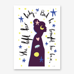 Typography poster print by Linda Gobeta, with a girl's shadow, stars and the text ''She left her body. But he brought her back.'', on white background