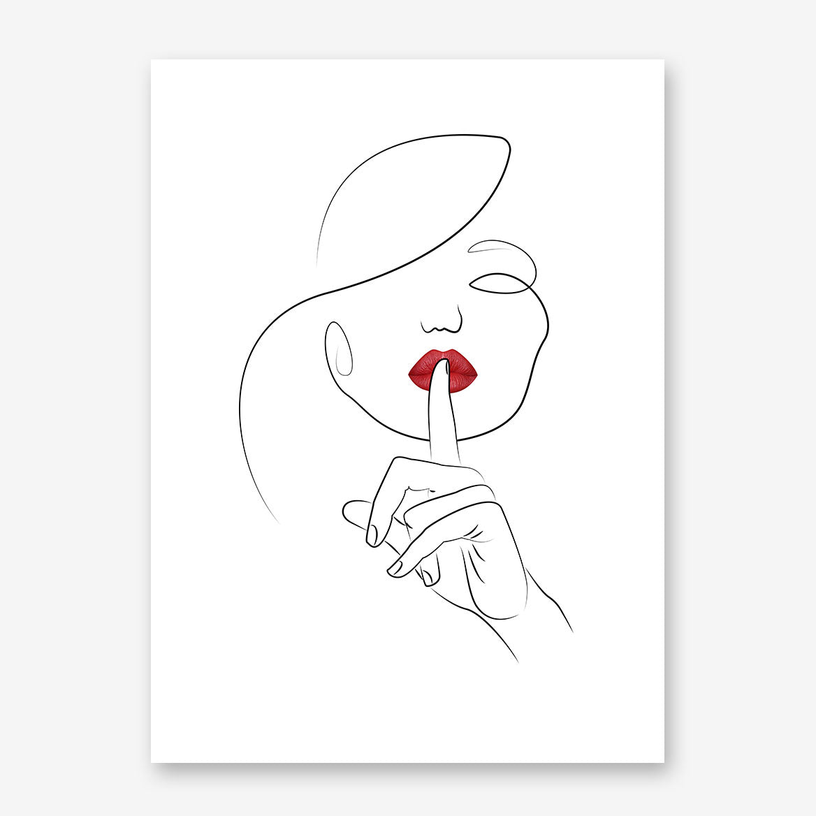 Beautiful line art poster print with shhh woman with red lips.