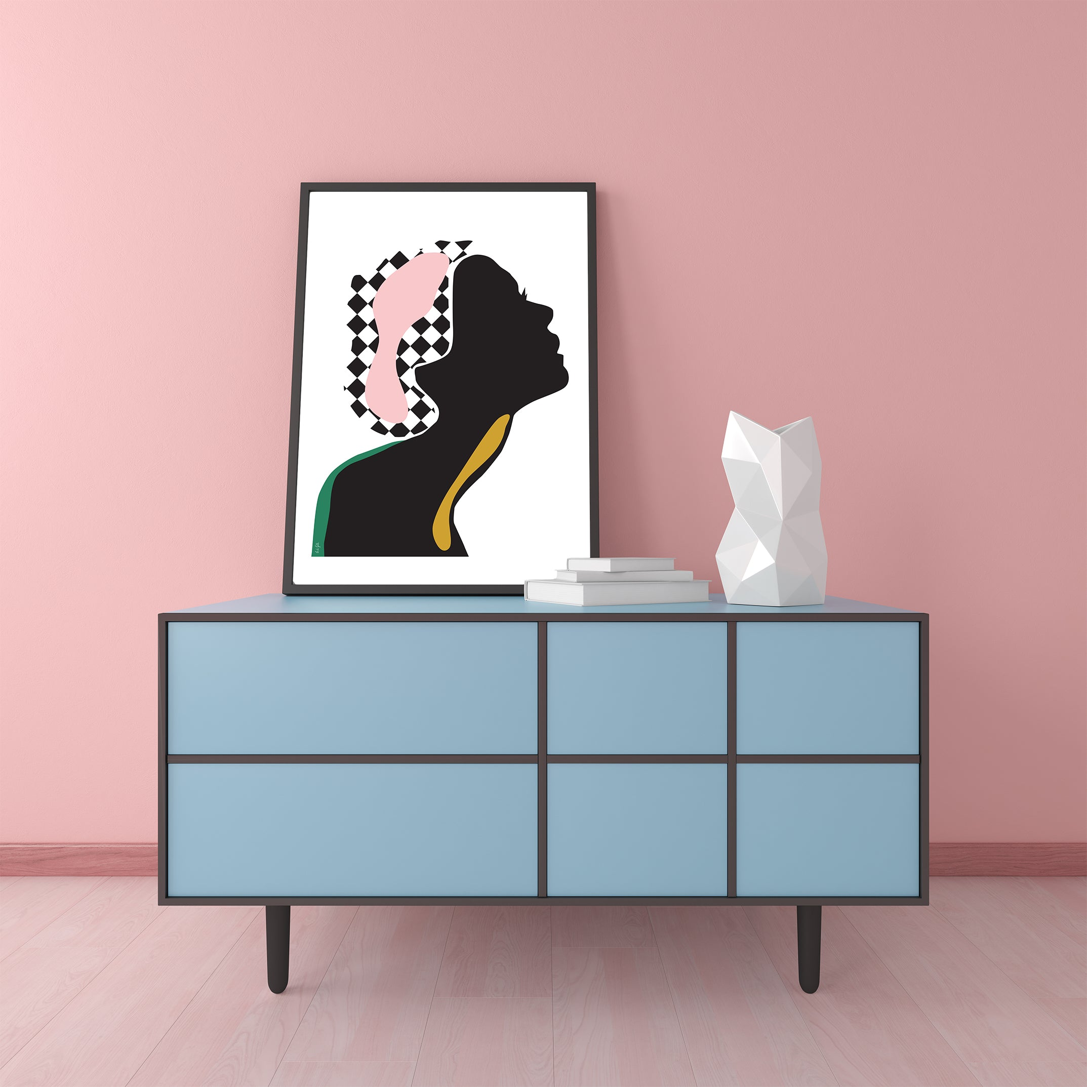 Fashion poster print by Linda Gobeta, with an abstract woman's silhouette, on white background, framed view