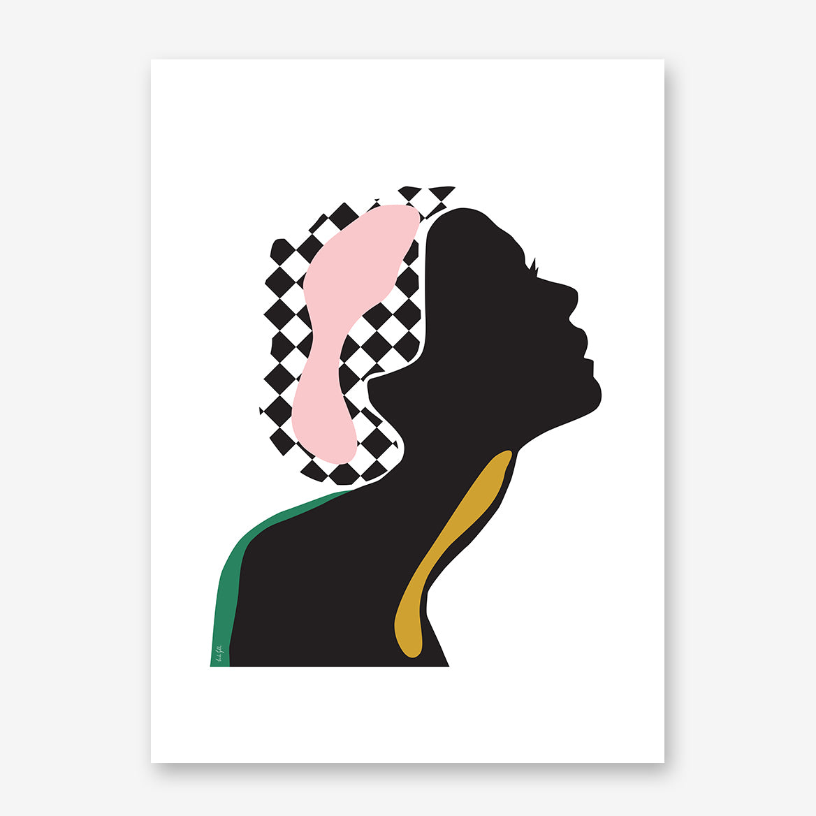 Fashion poster print by Linda Gobeta, with an abstract woman's silhouette, on white background.