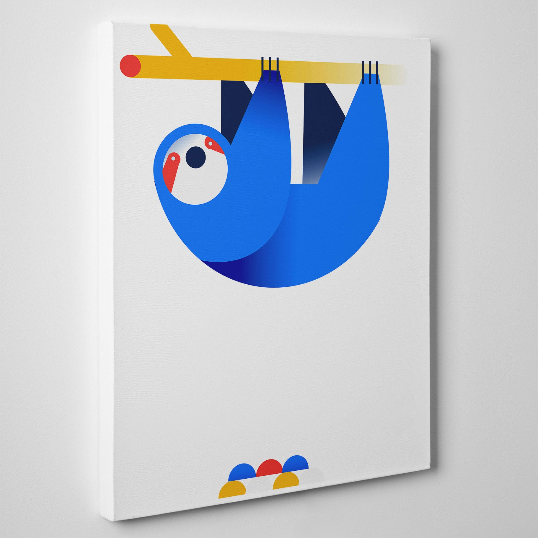 Nursery canvas print with a hanging blue sloth, on white background - side view
