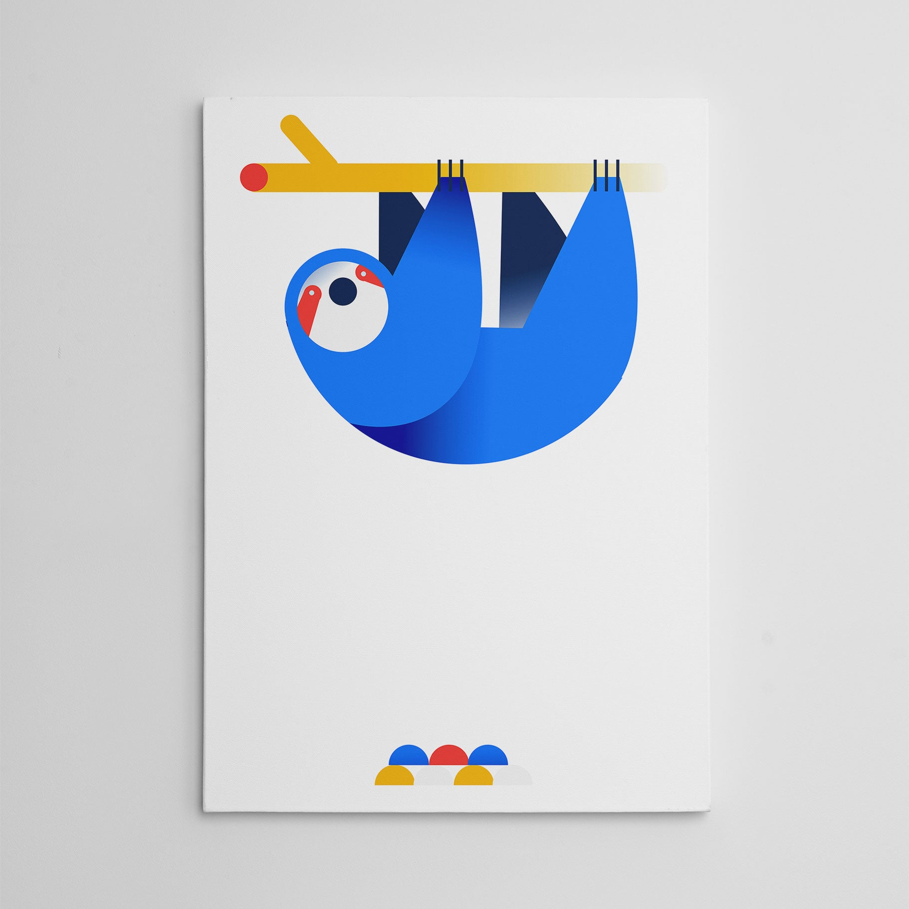 Nursery canvas print with a hanging blue sloth, on white background.