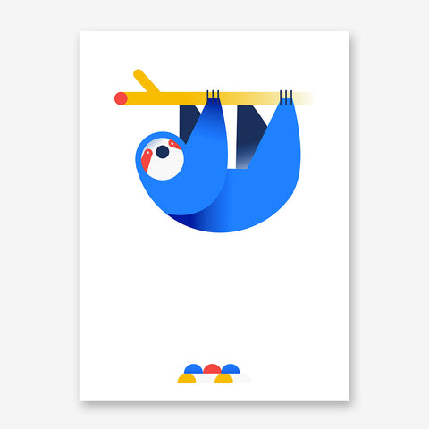 Nursery poster print with a hanging blue sloth, on white background.