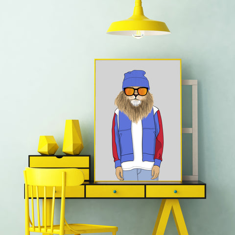 Fashion poster print with a cool dressed lion with sunglasses, on grey background - wall view