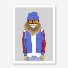Fashion poster print with a cool dressed lion with sunglasses, on grey background.