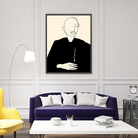Line art poster print by Sophia Novosel, with an abstract woman in black, smoking, framed in living room