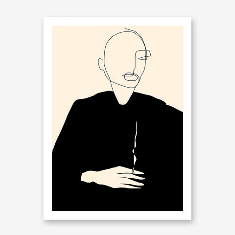 Line art poster print by Sophia Novosel, with an abstract woman in black.