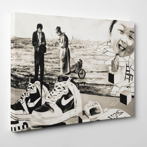 Street art style canvas print of a black and white sneakers painting, with arts mixture - side view