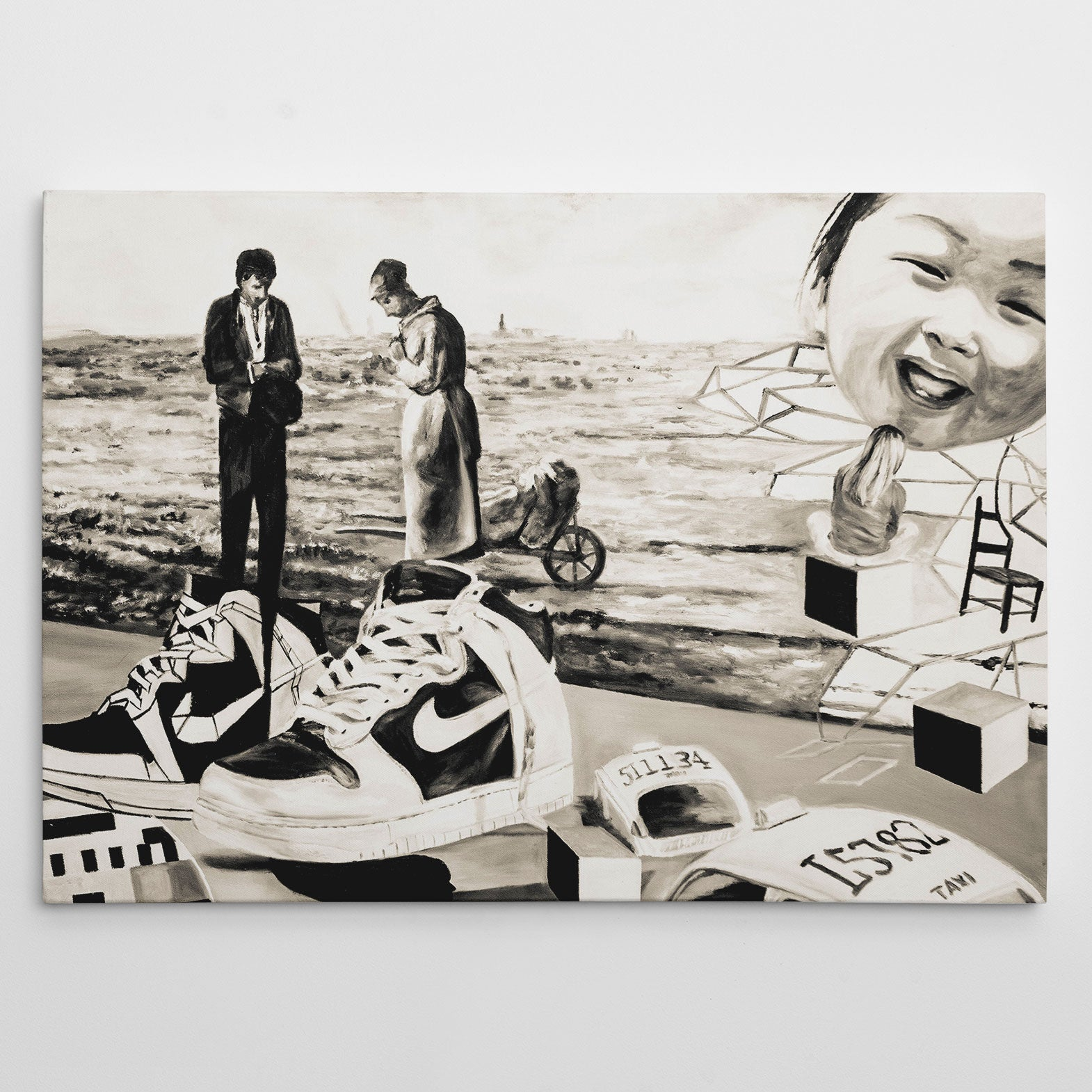 Street art style canvas print of a black and white sneakers painting, with arts mixture
