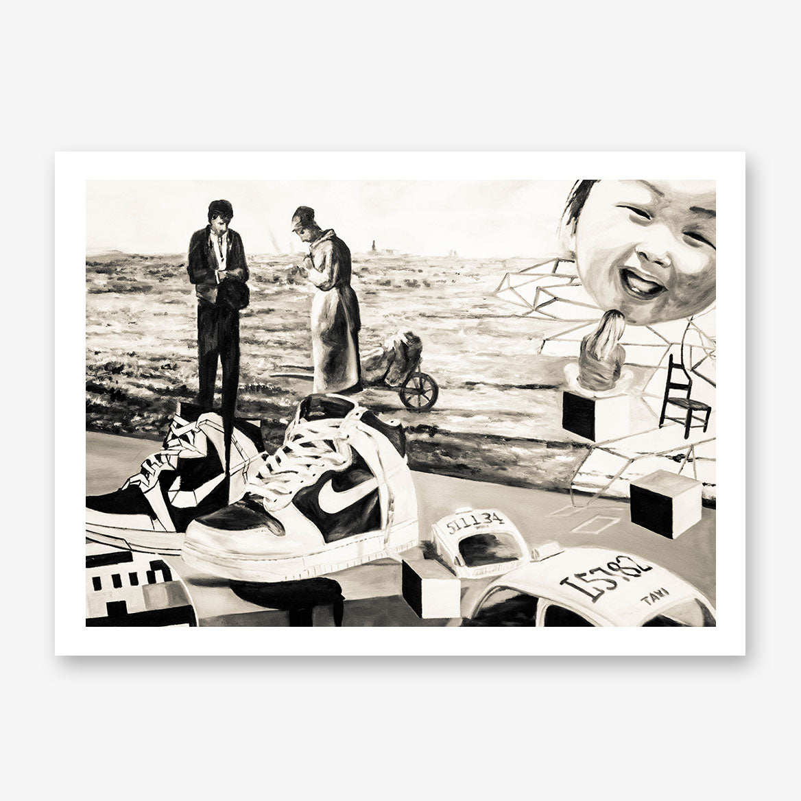 Street art style poster print of a black and white sneakers painting, with a mixture of vintage and modern art.