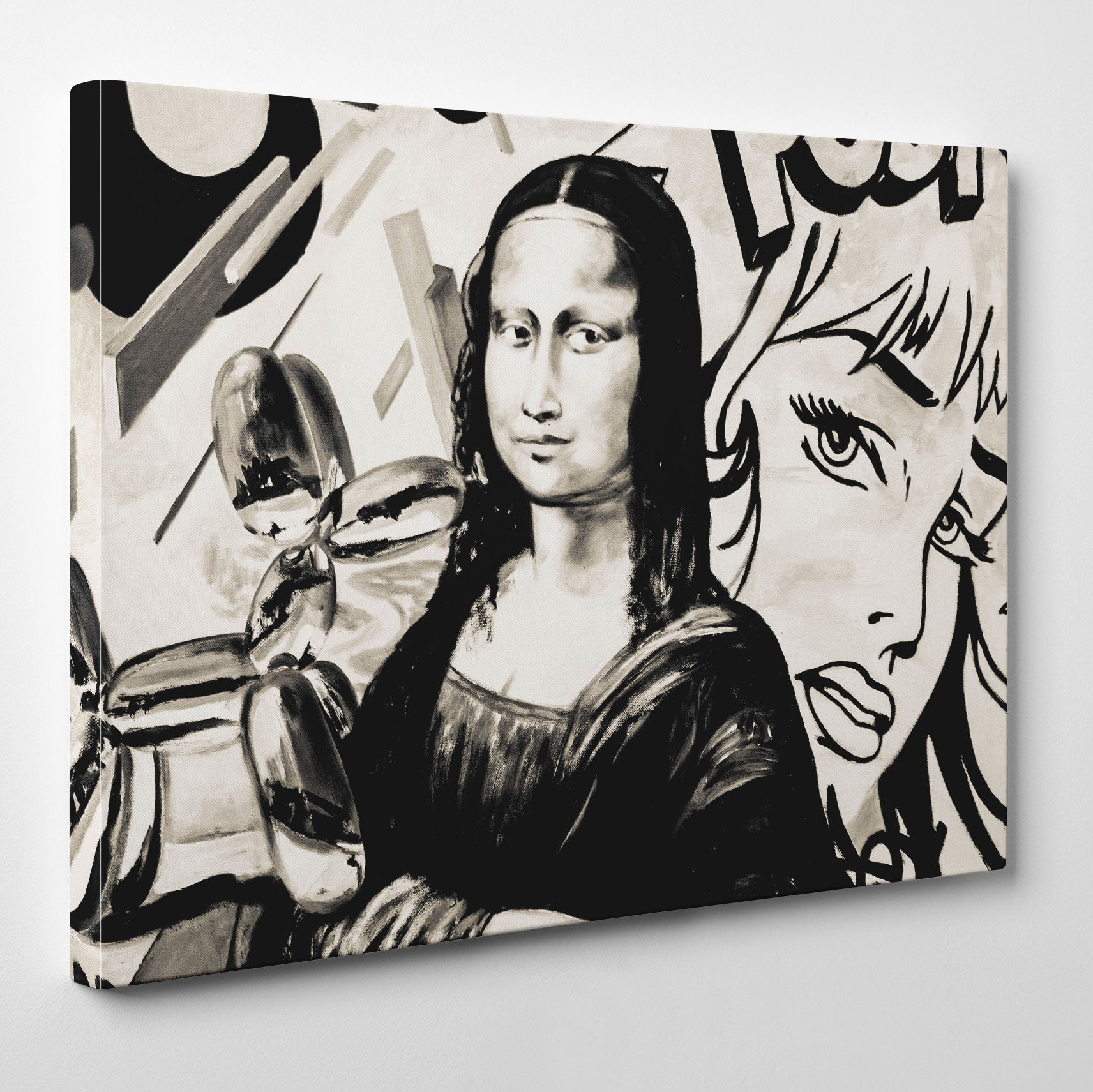 Street art style canvas print of a black and white Mona Lisa's painting, with arts mixture - side view