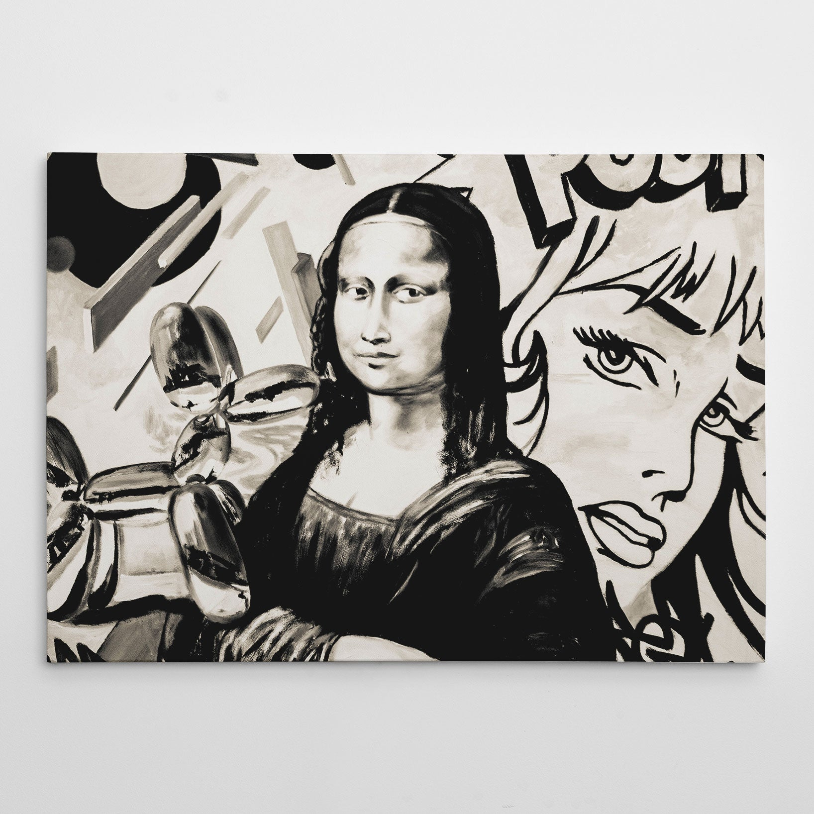Street art style canvas print of a black and white Mona Lisa's painting, with arts mixture.