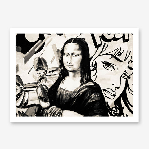 Street art style poster print of a black and white Mona Lisa's paint, with a mixture of vintage and modern art