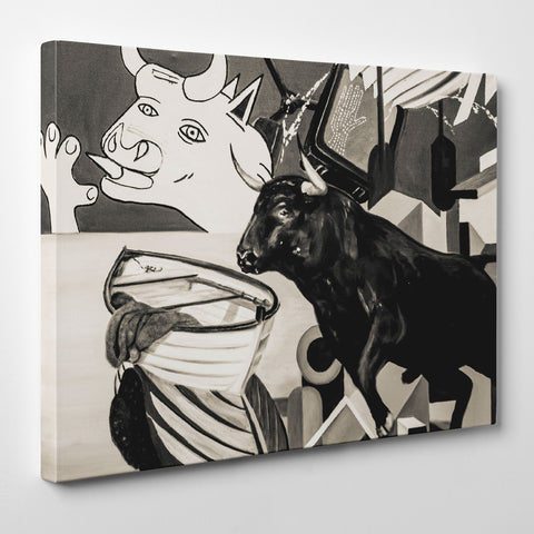 Street art style canvas print of a black and white bulls painting, with arts mixture - side view