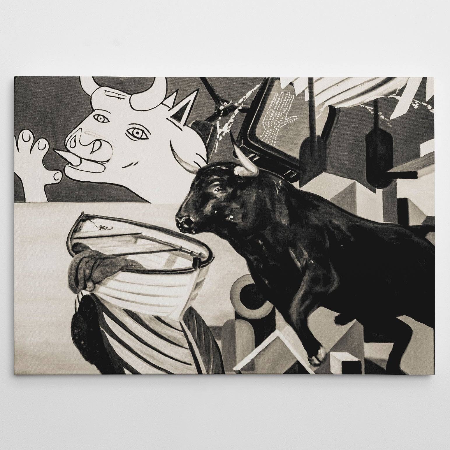 Street art style canvas print of a black and white bulls painting, with arts mixture.