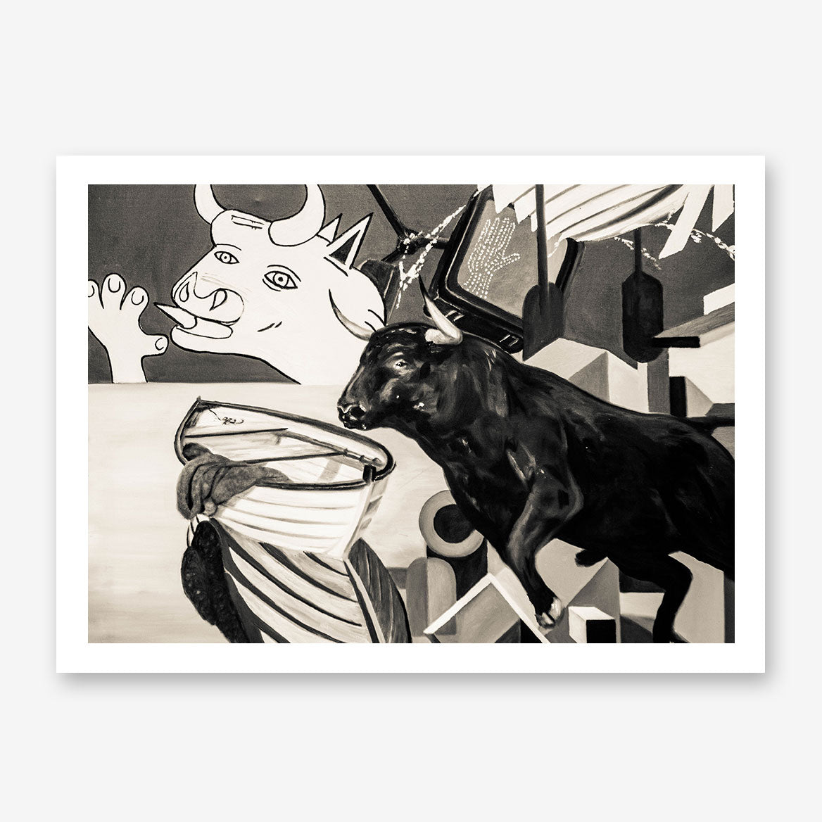 Street art style poster print of a black and white bulls paint, with arts mixture.