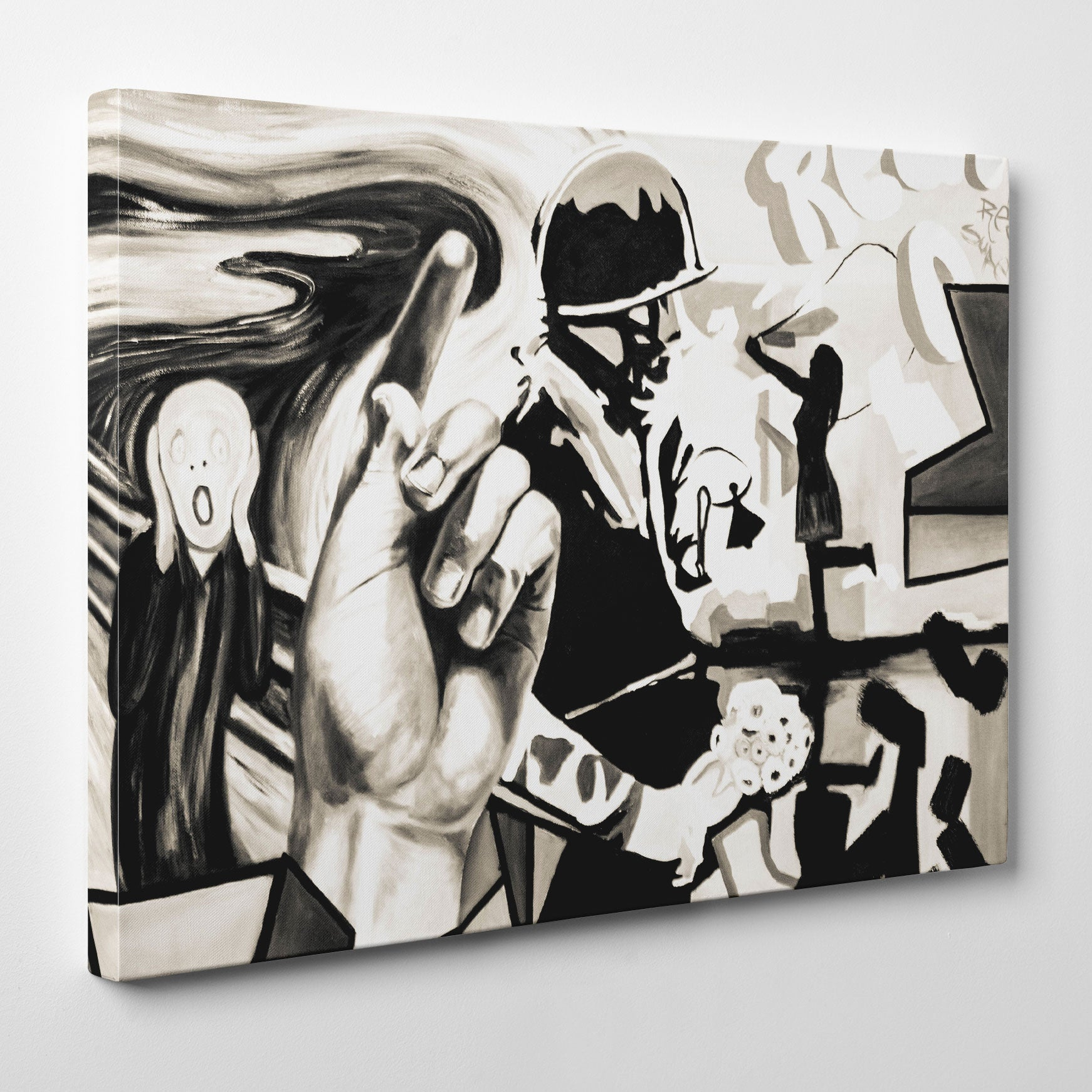 Street art style canvas print of a black and white soldier painting, with arts mixture - side view