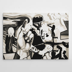 Street art style canvas print of a black and white soldier painting, with arts mixture.