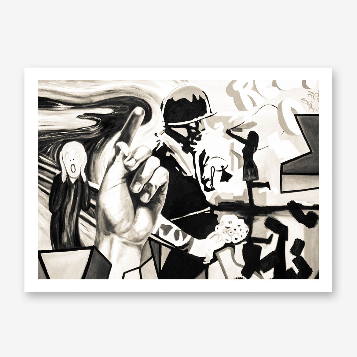 Street art style poster print of a black and white soldier painting, with arts mixture.