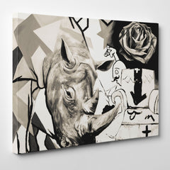 Street art style canvas print of a black and white rhinoceros painting, with arts mixture - side view