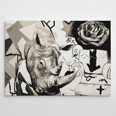 Street art style canvas print of a black and white rhinoceros painting, with arts mixture.