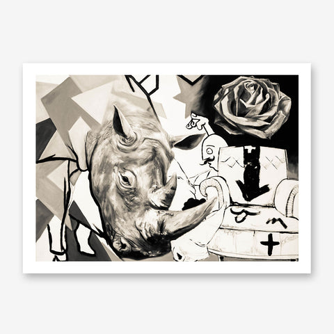 Street art style poster print of a black and white rhinoceros painting, with arts mixture.