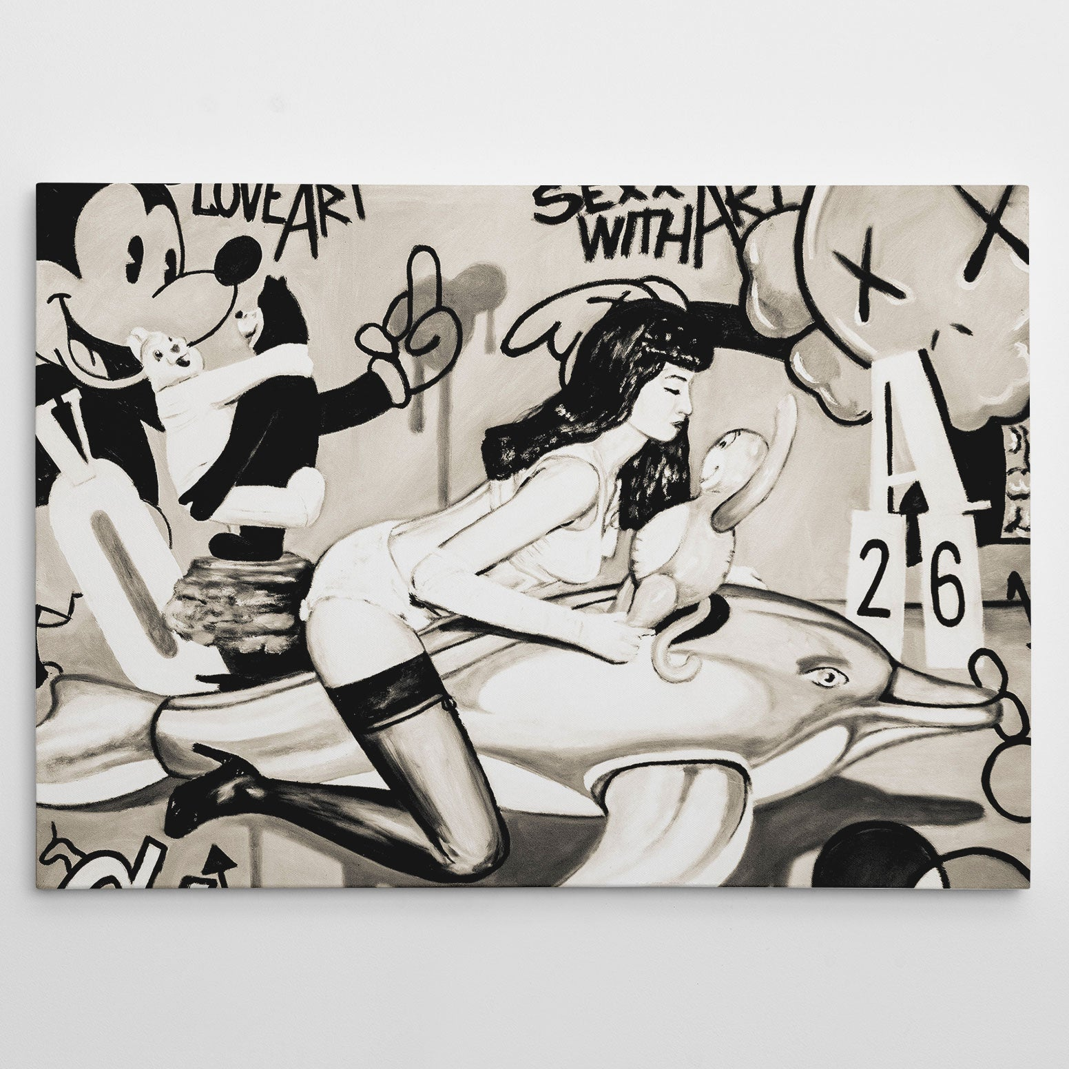 Street art style canvas print of a black and white cheeky cartoons painting, with arts mixture.