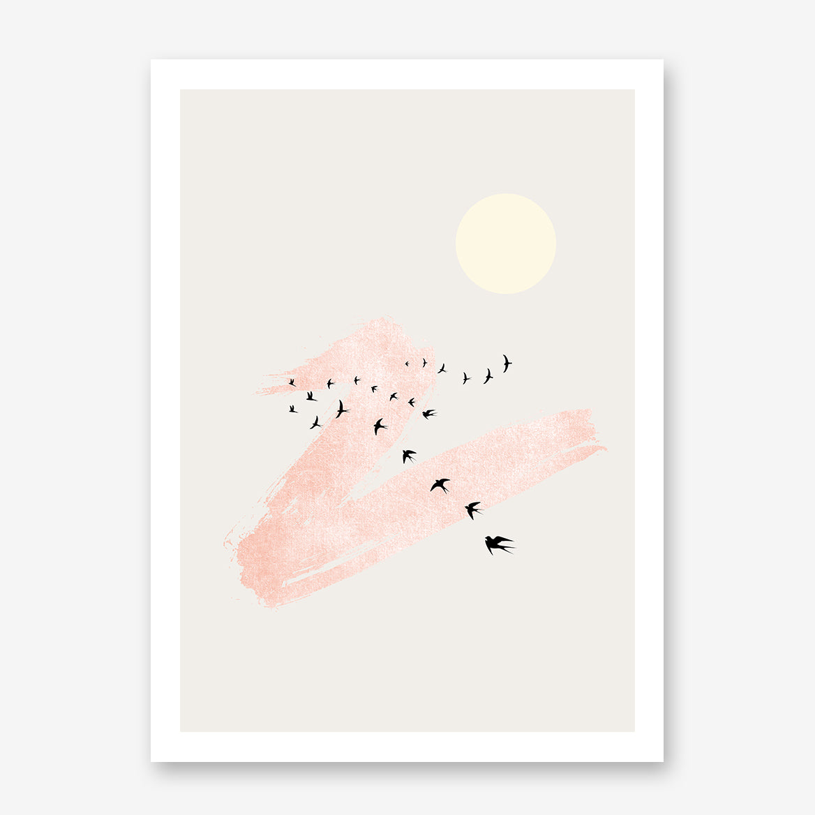 Minimalist poster print by Kubistika, with beige sun, black birds and rose pink brush stroke, on grey background.