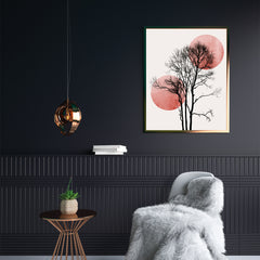 Minimalist illustration print by Kubistika, with a black tree and rose sun and moon, on light grey background, in hallway