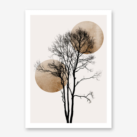 Minimalist illustration print by Kubistika, with a black tree and gold sun and moon, on light grey background.