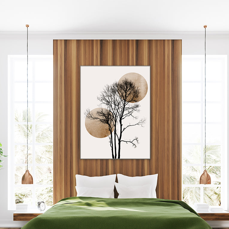Minimalist illustration print by Kubistika, with a black tree and gold sun and moon, on light grey background, in bedroom