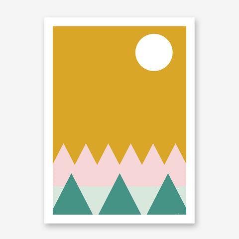 Nature graphic print by Linda Gobeta, with pink and teal mountains, on mustard background.