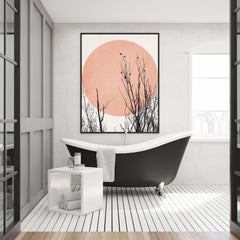 Illustration print by Kubistika, with black trees and birds, and pink sun, on light grey background, in bathroom.