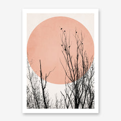 Illustration print by Kubistika, with black trees and birds, and pink sun, on light grey background.