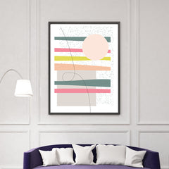Geometric poster print by Linda Gobeta, with colourful shapes, on black and white background, living room view