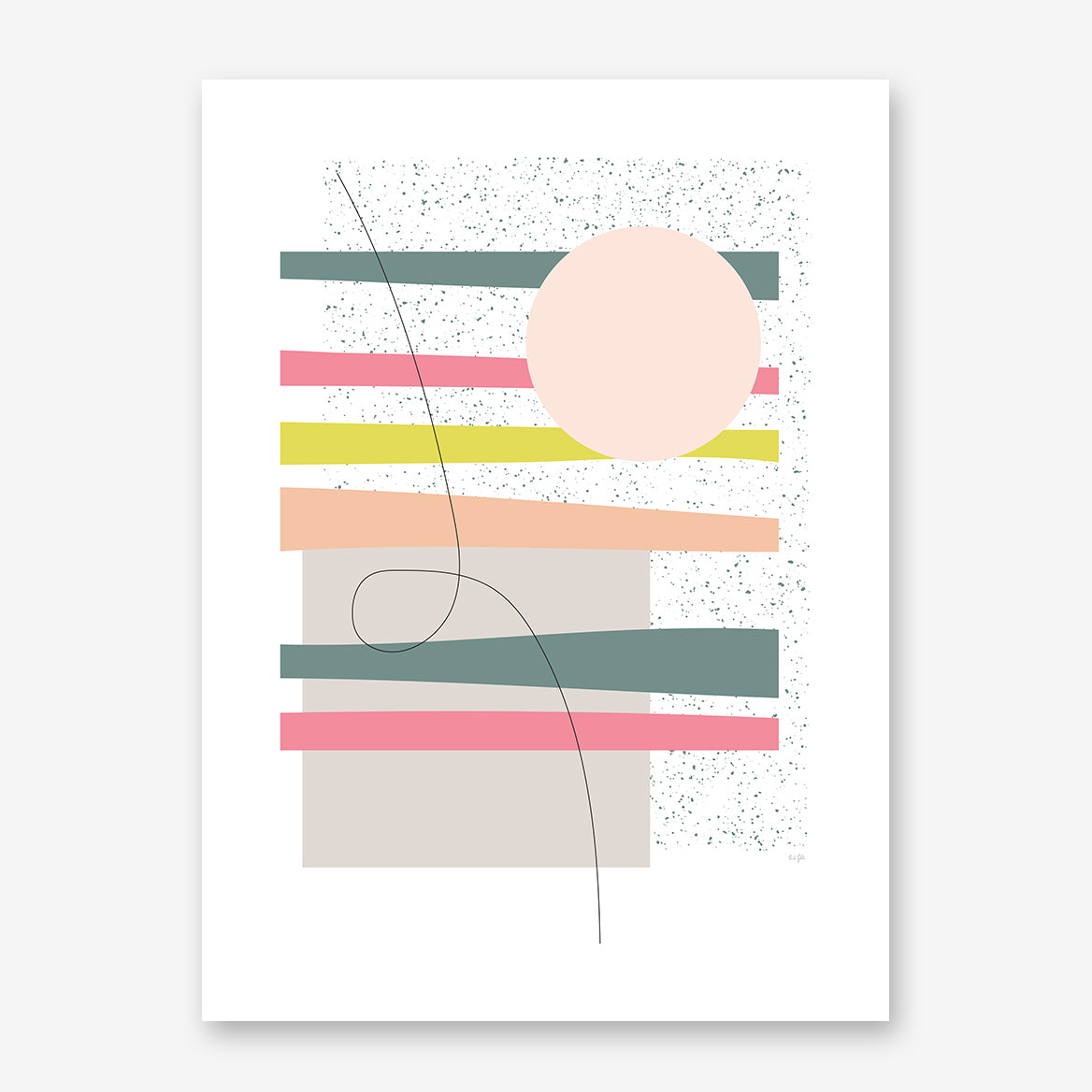 Geometric poster print by Linda Gobeta, with colourful shapes, on black and white background