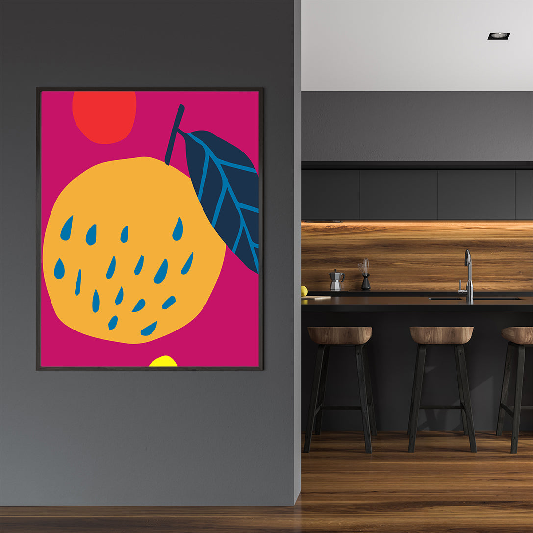 Colourful kitchen print by Kubistika, with graphic fruits, on pink background; wall view