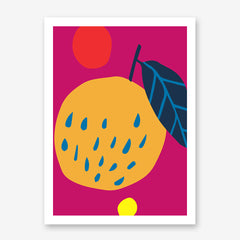 Colourful kitchen print by Kubistika, with graphic fruits, on pink background.