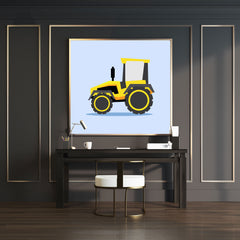 Wall art print with a yellow tractor illustration on light blue background