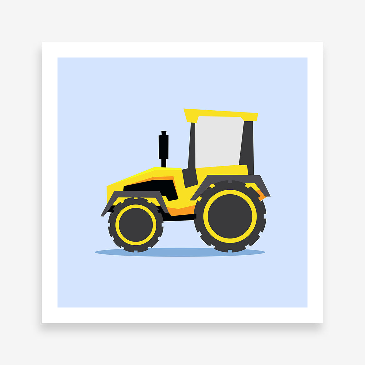 Print with a yellow tractor illustration on light blue background