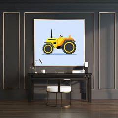 Art print with a yellow tractor illustration on light blue background full