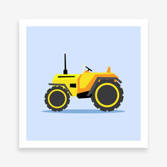 Poster print with a yellow tractor illustration on light blue background