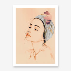 Fashion poster print with a woman's portrait with head wrap and leaves