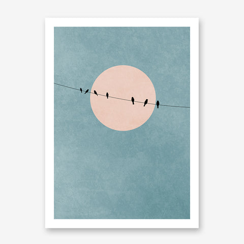 Minimalist textured poster print by Kubistika, with dusty pink sun and black birds on a rope, on dusty blue background.